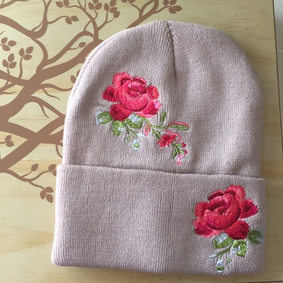 e6dcca230c9d9 Dusty Pink Rose Embroidered Knit Beanie Hat🌸